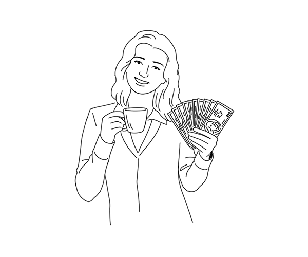 Woman holding a handfull of money