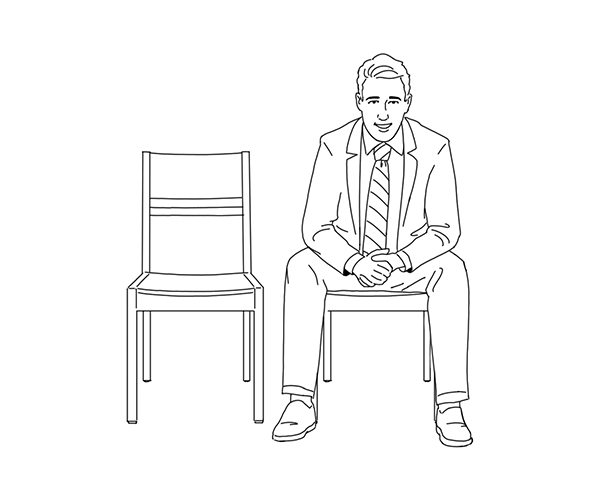 Illustration of man sitting in chair waiting.
