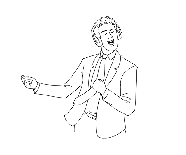 Illustration of man dancing with headphones on