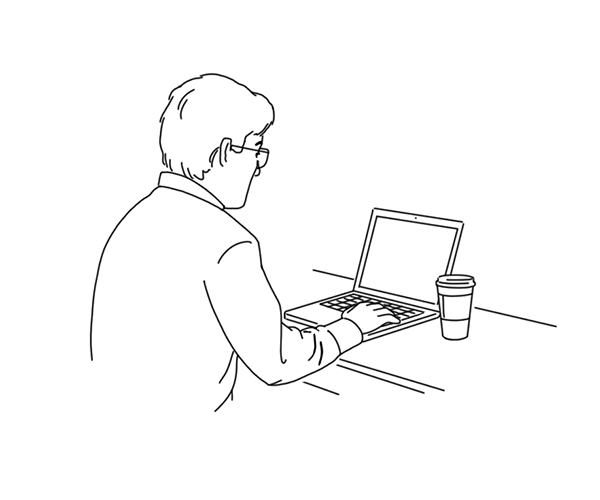Man sitting and checking his computer