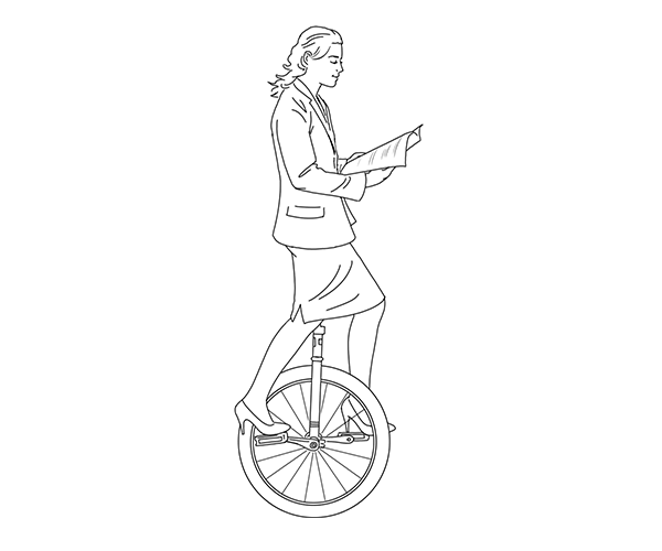 Woman on unicycle