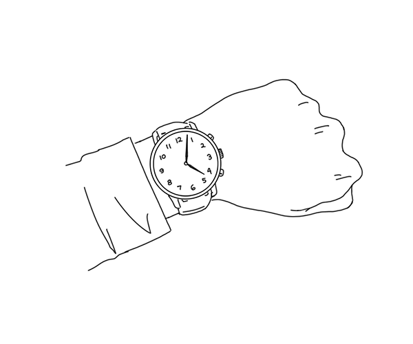Illustration of arm with a wristwatch
